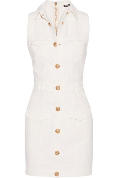 2e64d17f2d Balmain Sleeveless Button Front Mini Dress In White