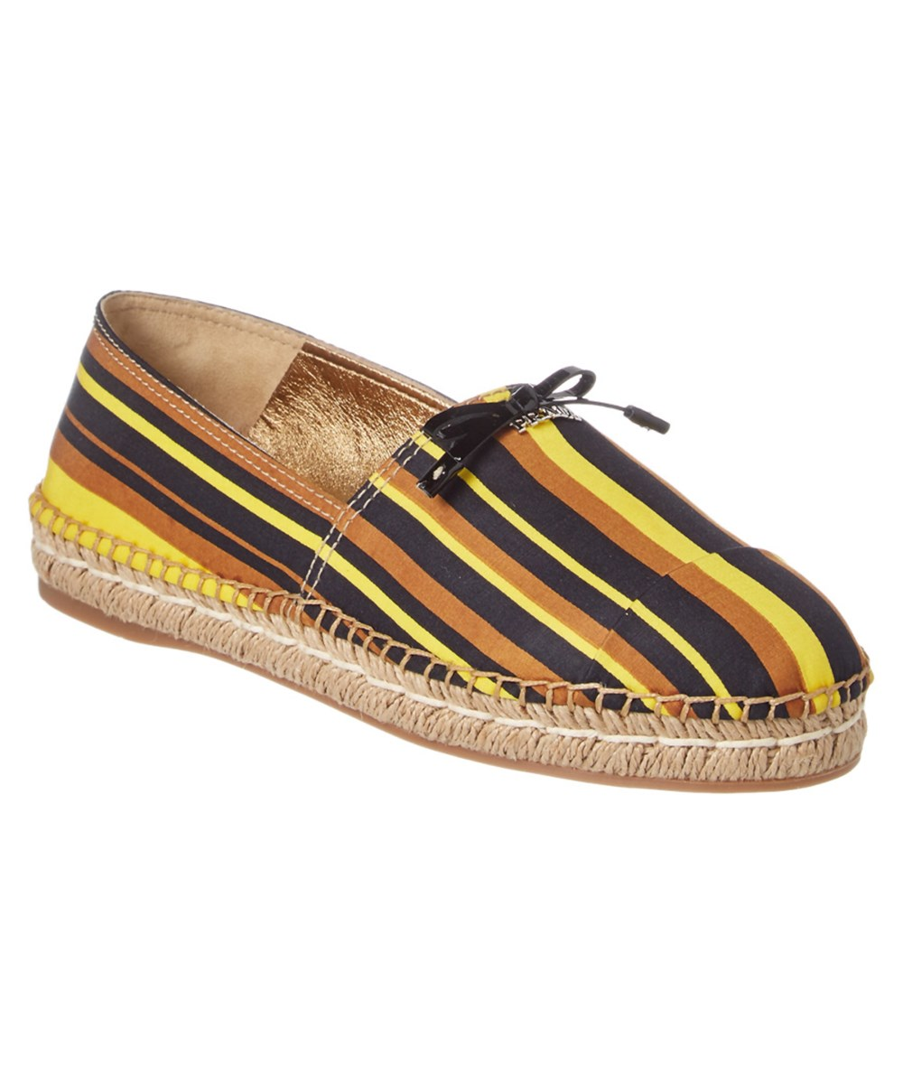Prada Striped Espadrille' In Nocolor