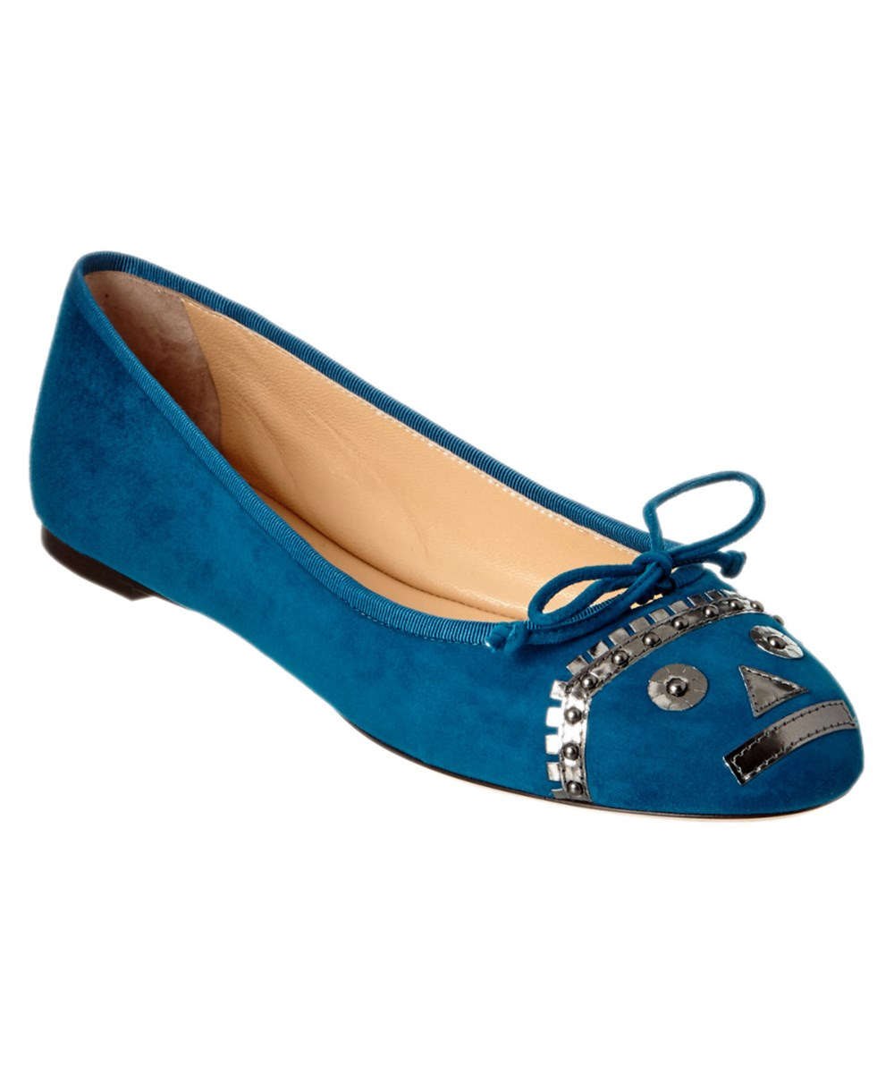 Charlotte Olympia Darcy Suede Flat In Nocolor