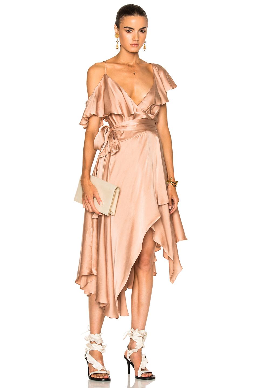 Zimmermann Nude Sueded Asymmetric Wrap Dress In Neutrals,pink