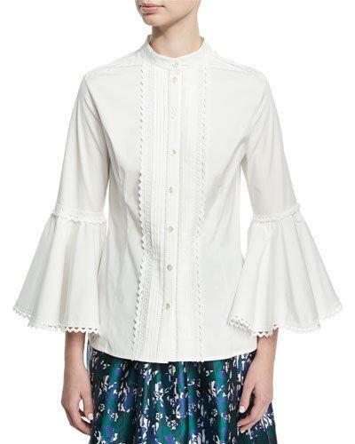 43edfde6c7c77d Oscar De La Renta Pintuck-Pleat Bell-Sleeve Poplin Shirt In White ...