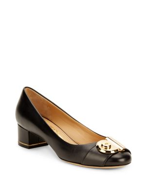 Salvatore Ferragamo Black Leather 'fiamma 40' Keyhole Detail Pumps