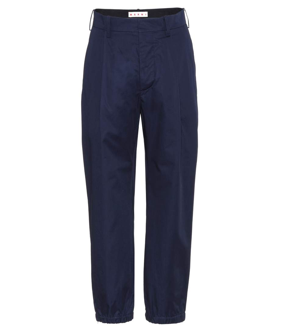 Marni Cropped Cotton Trousers In Blue