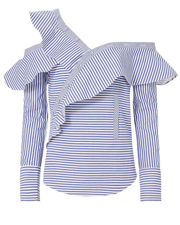 e57135dcdf16b Self-Portrait Off-The-Shoulder Ruffled Striped Cotton-Poplin Top In Navy