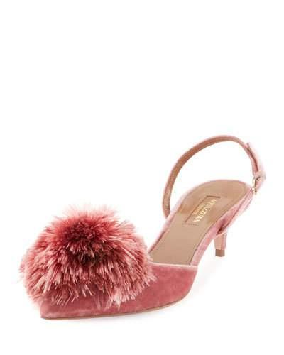 577512e8b50 Aquazzura  Powder Puff 45  Pompom Slingback Velvet Pumps In Pink ...