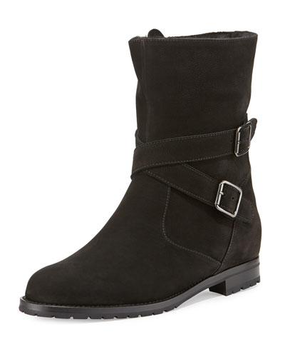 Manolo Blahnik Campocross Belted Mid-calf Boot With Shearling, Black