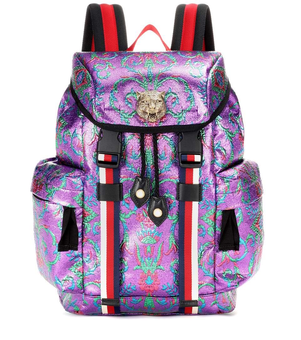 532d1d48c44 Gucci Stripe-Trimmed Embellished Metallic Brocade Backpack In Purple ...