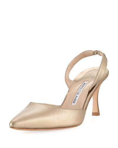 2d9f732c04484 Manolo Blahnik Carolyne Metallic Leather Mid-Heel Slingback Pump In Rose  Gold