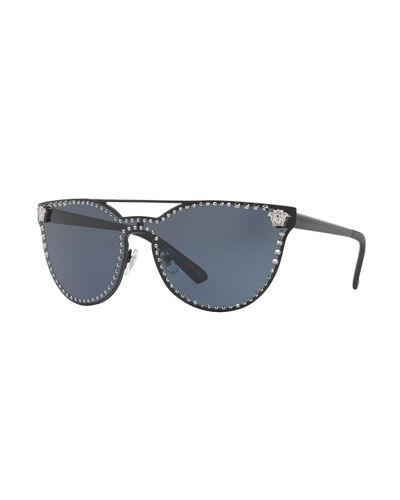 1d5ef4c7026a Versace Medusa Stud 145Mm Shield Sunglasses - Matte Black Solid In Black  Matte/Grey
