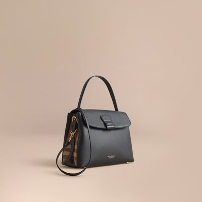 fb0fc727c01 Burberry Medium Camberley Leather & House Check Top Handle Satchel In Black