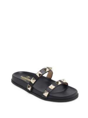 bea2a114c5f481 Valentino Rockstud Leather Two-Band Slide Sandal In 0No Black