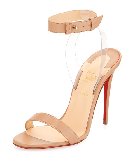 9a12928086a7 Christian Louboutin Jonatina Illusion Ankle-Strap Red Sole Sandals ...