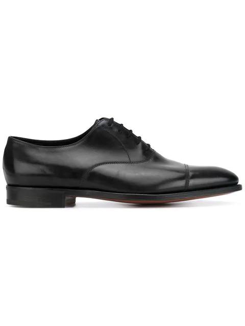 John Lobb Philip Ii Black Calf Leather Oxford Shoes