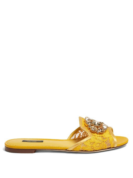 Dolce   Gabbana  Bianca R  Jewelled Taormina Lace Slippers In Yellow ... faed0ff477536