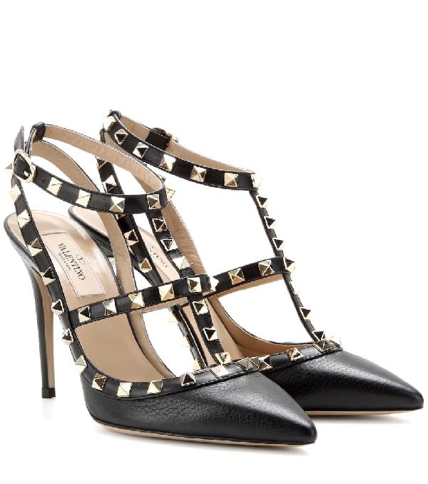 Valentino Garavani Women's Rockstud Leather T-strap High-heel Pumps In Black