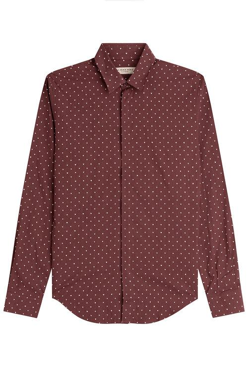 Burberry Slim Fit Printed Silk-cotton Shirt In Claret