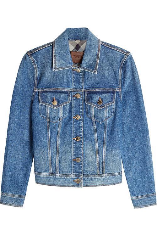 Burberry Stonewashed Denim Jacket In Light Indigo