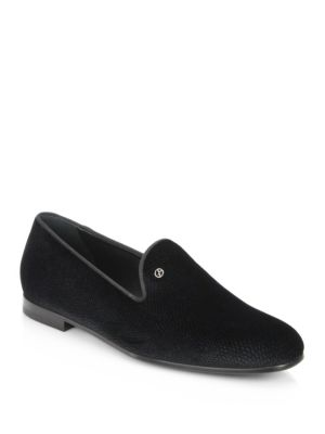 Giorgio Armani Textured Leather Shoes In Black