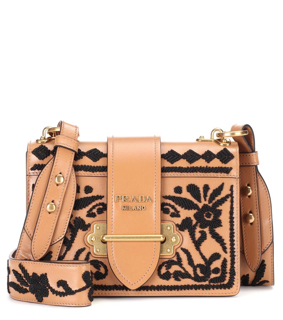 7104cf1f68a0 Prada Madras Embroidered Cahier Shoulder Bag In Bianco-Nero