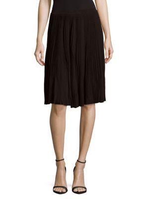 Nina Ricci Pleated Midi Skirt In Black
