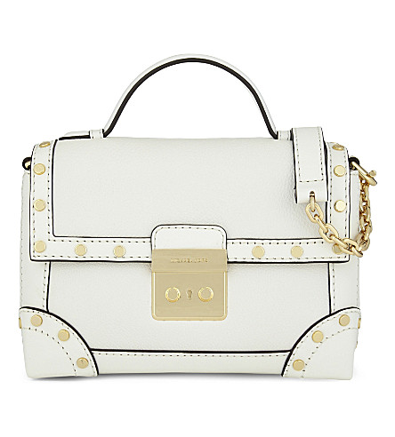 a5b0bd52b783a Michael Michael Kors Cori Small Leather Trunk Shoulder Bag In Optic White
