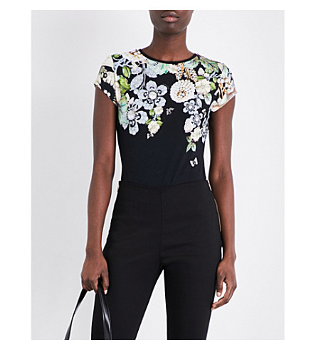 5b9a08331edc Ted Baker Veeni Gem Gardens Printed Stretch-Jersey T-Shirt In Black ...