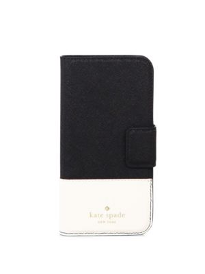 Kate Spade Colorblocked Leather Iphone 7/8 Case In Black Cement