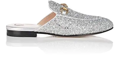 8a559956a51 Gucci Princetown Horsebit-Detailed Glittered Leather Slippers In Silver