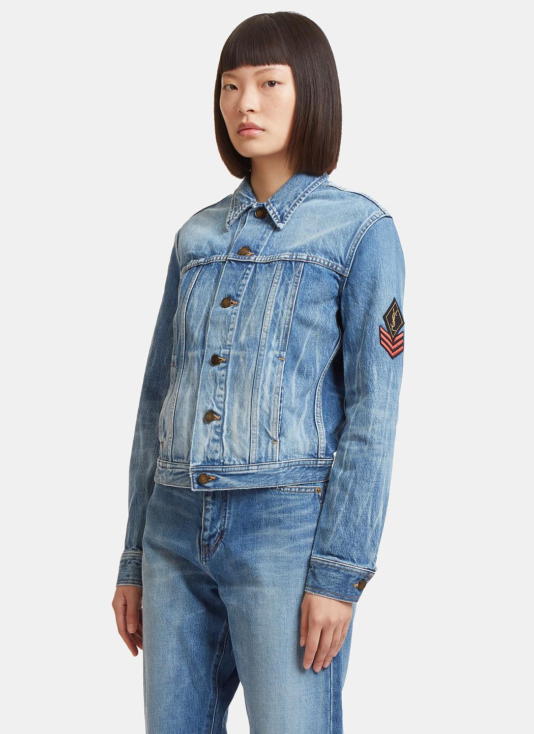 5551e9ba Women's Original YSL Military Patch Denim Jacket in Blue
