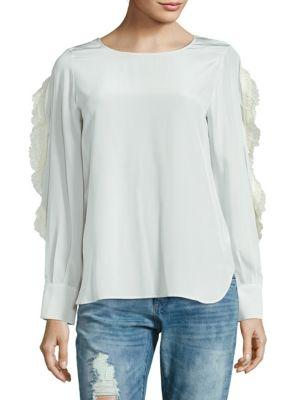 See By ChloÉ Ruffle Sleeve Silk Blouse In White