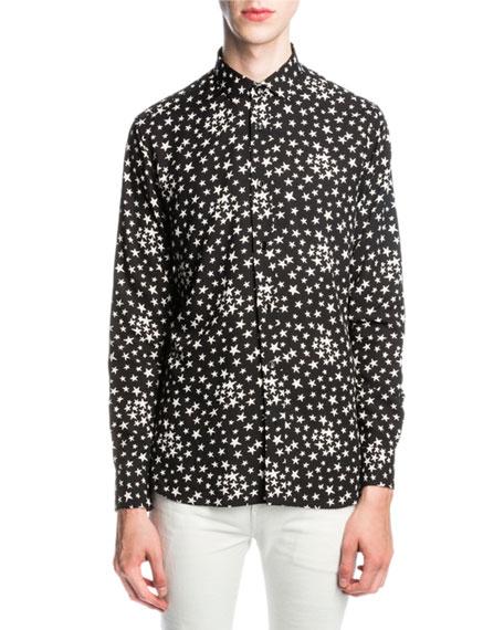 14433412c2003b Saint Laurent Signature Dylan Collar Shirt In Black And White Star Printed  Viscose In Black/