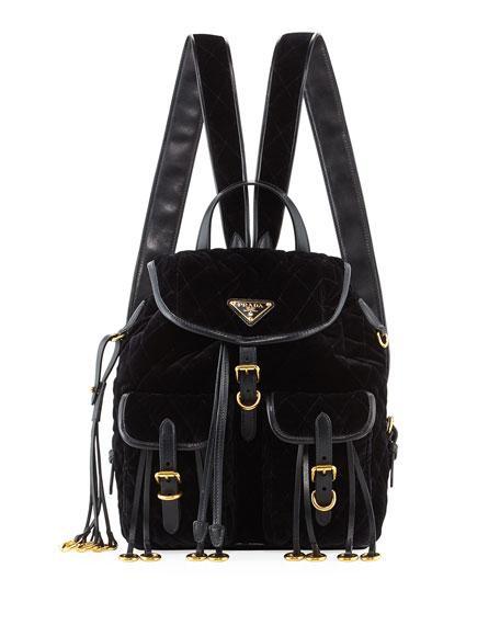 d479e582e932 Prada Leather-Trimmed Quilted-Velvet Backpack In Black | ModeSens