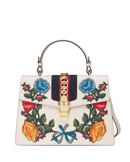 843714a30c3 Gucci Sylvie Embroidered Leather Top-Handle Satchel Bag