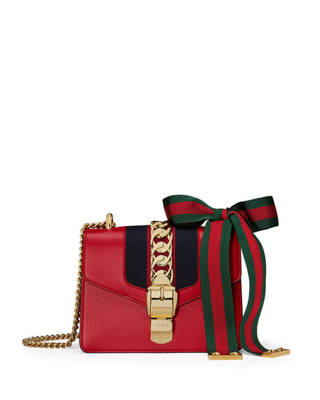 9eabcbf6ead9 Gucci Sylvie Mini Chain-Embellished Leather Shoulder Bag In Red ...
