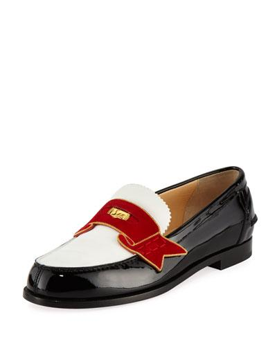 46ba2e76d64c Christian Louboutin Moana Suede And Chain-Trimmed Leather Loafers In ...