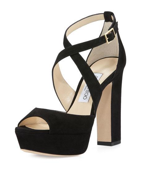cb57bdb85a7 Jimmy Choo April 120 Grosgrain-Trimmed Velvet Platform Sandals In Dark Miek