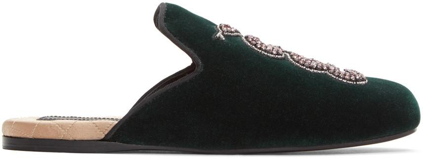 063c97edf9d7 Gucci Green Velvet Snake Lawrence Slippers In Black