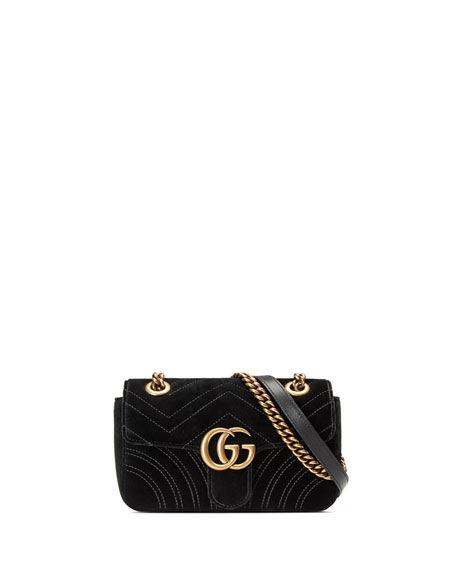 15a1f7b0a640 Gucci Gg Marmont 2.0 Mini Quilted Velvet Crossbody Bag, Black | ModeSens