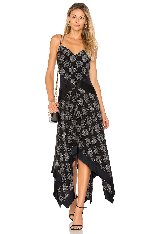 ed7429a792a Diane Von Furstenberg Silk Satin-Paneled Printed Crepe Midi Dress In Fenton  Black   Alex