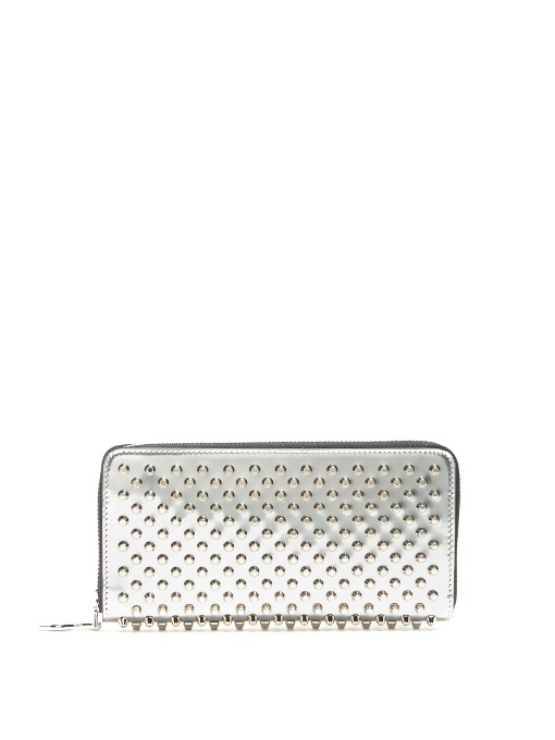 8e2bbed3089 CHRISTIAN LOUBOUTIN - PANETTONE SPECCIO EMBELLISHED LEATHER WALLET - WOMENS  - SILVER