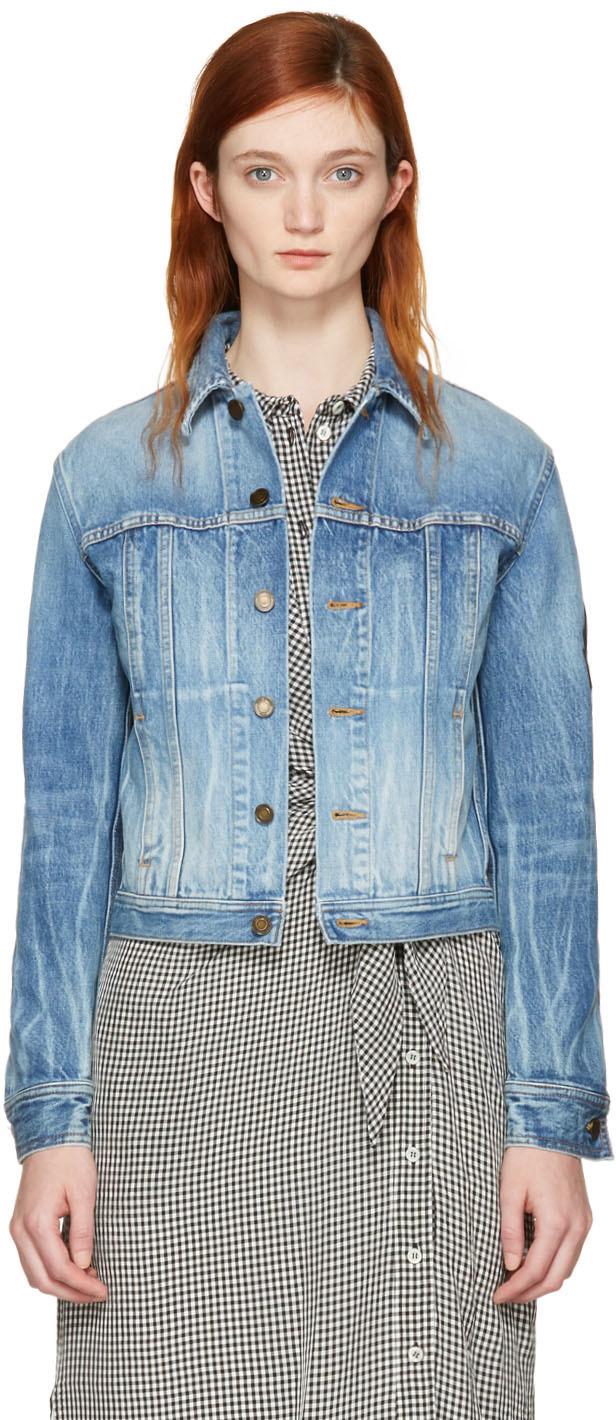998fdeb1 Blue Denim Military Patch Jacket