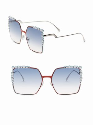 581fe6678f Fendi Can Eye Studded Oversized Square Sunglasses