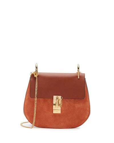 0a6aed9802022 ChloÉ Drew Small Chain Saddle Bag, Classic Tobacco In Motty Grey ...