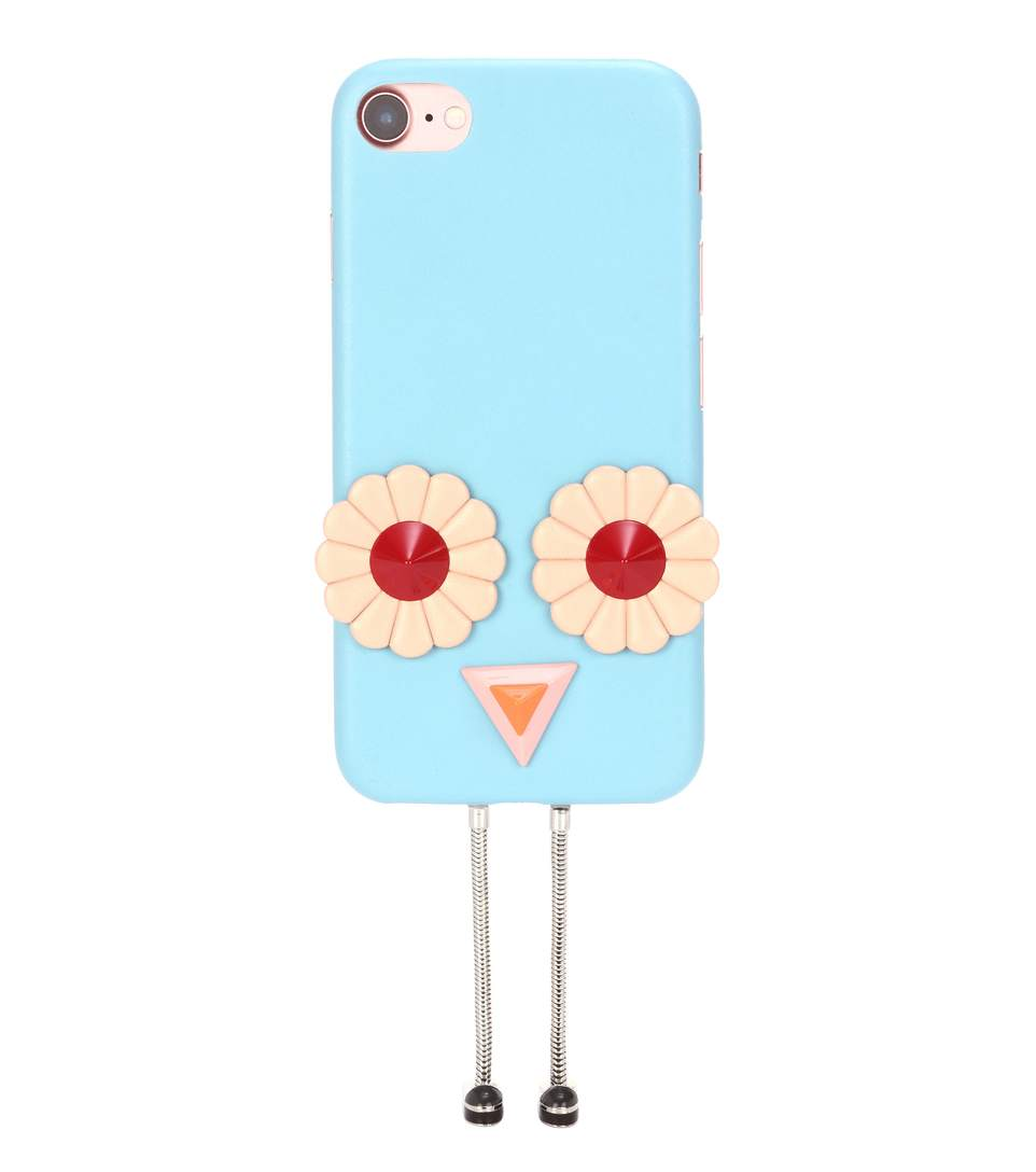 Fendi Blossom AppliquÉD Leather Iphone 7 Case In Blue