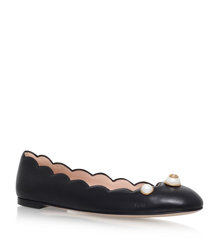 5825d8b44 Gucci Black Leather Pearl Embellished Ballet Flats' | ModeSens