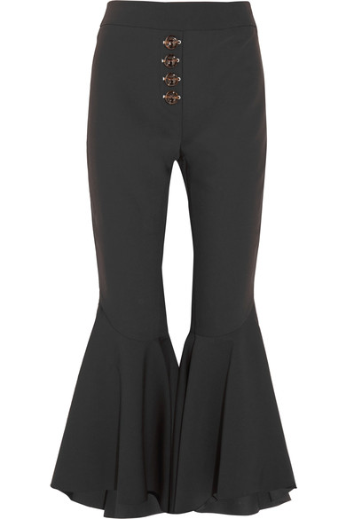 264da5f1332d Ellery Sin City High-Rise Ruffled-Cuff Cropped Trousers In Black ...