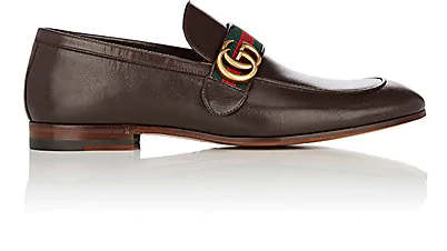 Gucci Men's Leather Loafers Moccasins  Quentin In Brown