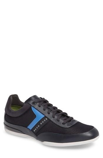 Hugo Boss Green Space Mesh Sneaker In Dark Blue Leather