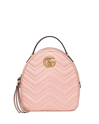 537d5d7c72f2 Gucci Gg Marmont Chevron Quilted Leather Mini Backpack In Pink ...