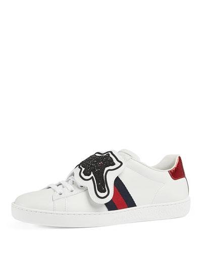 b610a7c2c98 Gucci Ace Crystal-Embellished Watersnake-Trimmed Leather Sneakers In White